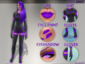 Sims 4 — [SET] - Space Ghost by WhiteGhost — ~Type of clothing: Jampsuit, gloves, boots, eyeshadow, lipstick and face