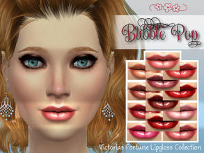Sims 4 — Victorias Fortune Bubble Pop Lipgloss Collection by fortunecookie1 — Here are 12 new lipgloss colors for your