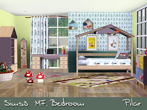 Sims 3 — MF Bedroom  by Pilar — Furniture nature spirit, pine paneling and lacquered