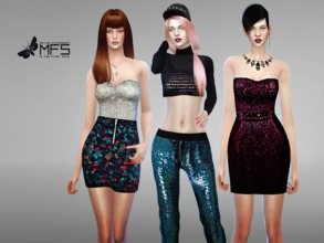 Sims 4 — MFS Sequin Collection by MissFortune — A set of sparkling clothing for your female sims.