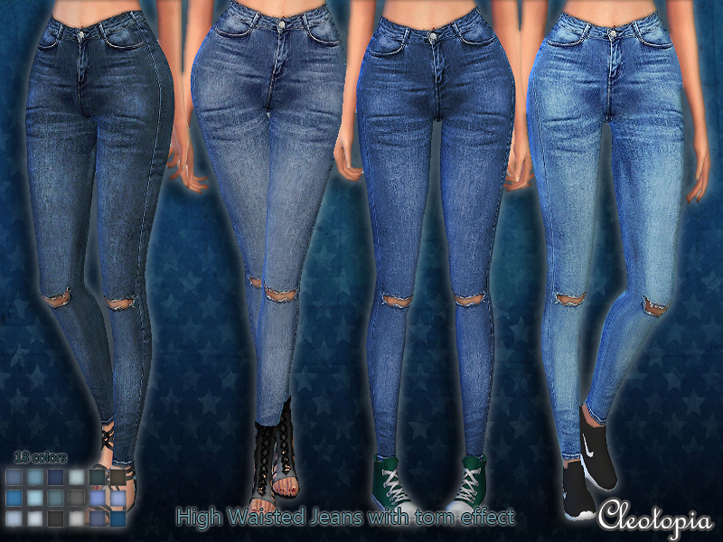 Cleotopia's Set45- High Waisted Jeans with torn effect