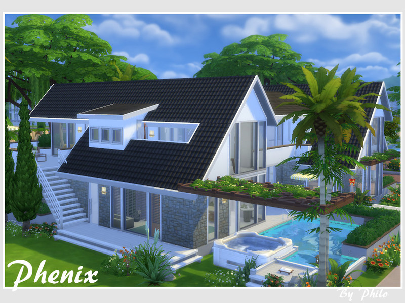 Philo 39 s phenix no cc for Minimalist house sims 2