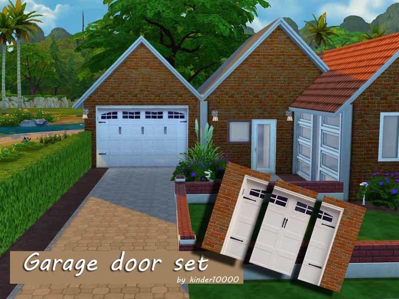 Kinder10000 39 s garage door wall set for Sims 4 garage