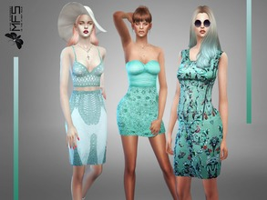 Sims 4 — MFS Classy Blue Collection by MissFortune — A set of clothing in pastel blue shades. Standalone, Hq texture,