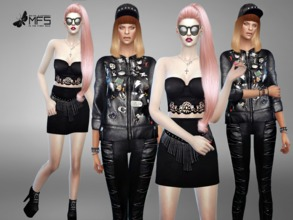 Sims 4 — MFS Rock Your Body - Collection by MissFortune — A set of punk and rockish clothing in black leather!