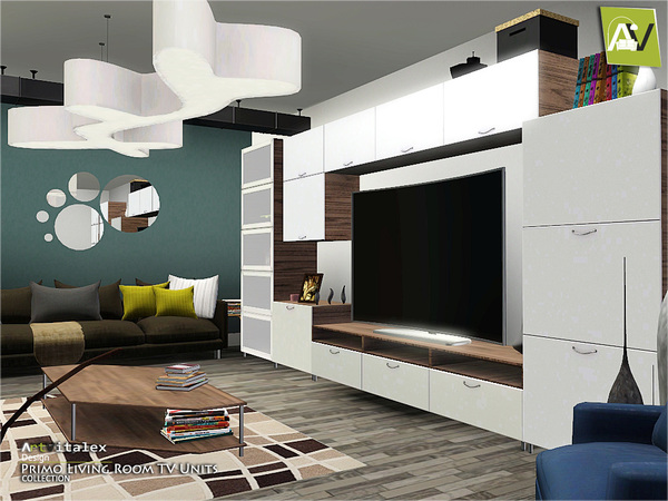 Artvitalex 39 s primo living room tv units for Modern living room sims 4