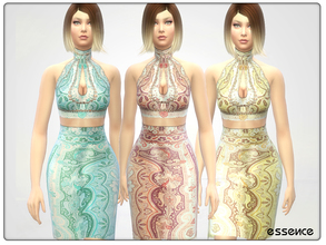 Sims 4 — Designered Abstract Dress by simseviyo — Very detailed abstract dress for your events