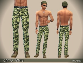 Sims 4 — CamoPants by Paogae — Camouflage pants for man with black belt. One variation only. Categories: everyday,