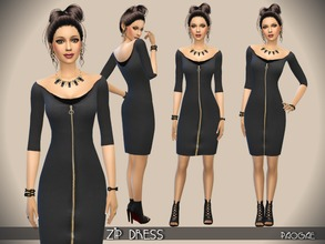 Sims 4 — ZipDress by Paogae — A simple darkgray dress with long zip on the front. Complete your outfit with all the