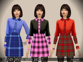 Sims 4 — TartanDress with Jacket by Paogae — A funny outfit in three colors, classic tartan patterns for the short dress