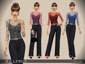Sims 4 — Nice Jumpsuit by Paogae — Nice and elegant black jumpsuit, with transparent top in four colors. Categories: