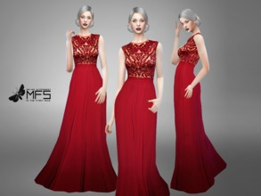 Sims 4 — MFS Maven Dress by MissFortune — Standalone, Hq texture, Custom thumbnail, three colors.