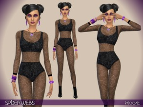 Sims 4 — Spiderwebs by Paogae — Halloween is coming ... get ready with this sexy and mysterious jumpsuit, transparent and