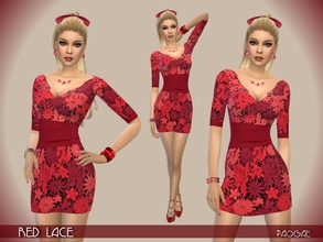 Sims 4 — RedLace by Paogae — Lovely short dress with red lace flowers and high belt on waist. Categories: everyday,