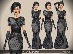 Sims 4 — BlackDame by Paogae — In this black lace gown rich in charm and mystery, the taste of ancient times ... or of a