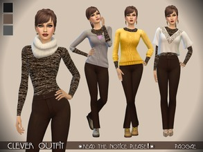 Sims 4 — Clever Outfit by Paogae — Classic pants + roundneck sweater in three fall/winter colors (black, brown and dark