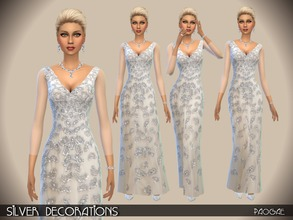 Sims 4 — SilverDecorations by Paogae — Elegant gown with silver decorations and transparent long sleeves. Categories: