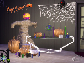 Sims 4 — Happy Halloween 2015 by BuffSumm — Some decorative porcelain Pumpkins, some burned candles, a scarecrow and a