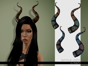 Sims 3 — LeahLilith Sundown Horns by Leah_Lillith — Sundown Horns 3 recolorable areas avilable for males and females HAT