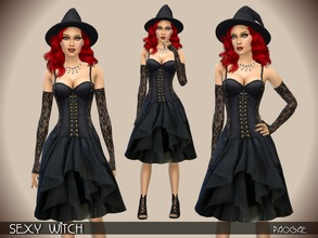 Sims 4 — SexyWitch by Paogae — Nice, sexy and funny witch costume, black, with lace corset and draped skirt. Categories:
