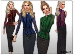 Sims 4 — Chiffon Blouse with Flared Jeans by simseviyo — Beautiful highly detailed outfit with chiffon blouse and black