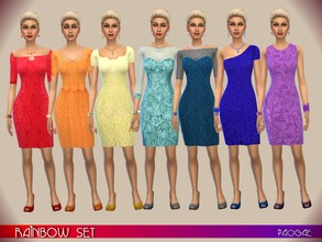 Sims 4 — RainbowSet by Paogae — Seven colors, seven different variations of a short and elegant dress, for your parties