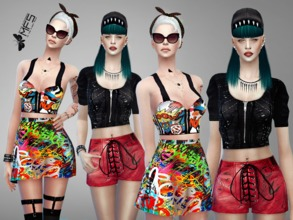 Sims 4 — MFS Pop Divas Collection by MissFortune — This pop collection includes graffiti prints and sporty details.