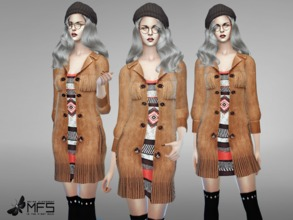 Sims 4 — MFS Naomi Long Coat by MissFortune — Standalone, Hq texture, custom thumbnail, 5 colors.