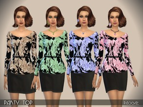Sims 4 — PartyTop by Paogae — Glittered top with long sleeves, in four nice colors, perfect to be matched with black
