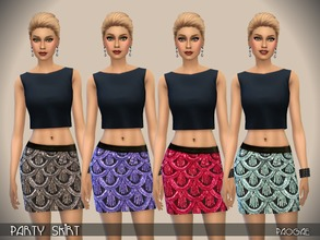 Sims 4 — PartySkirt by Paogae — Glittered mini skirt in four nice colors, perfect to be matched with black tops.