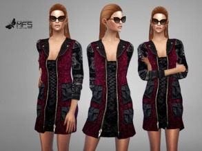 Sims 4 — MFS Gracy Jacket by MissFortune — Standalone, Hq texture, custom thumbnail, 5 colors.