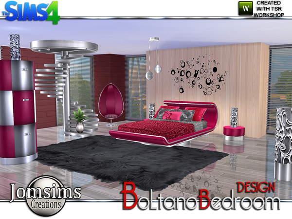 Jomsims 39 boltano design bedroom for Sims 4 bedroom ideas