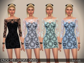 Sims 4 — CrochetShortDress by Paogae — Crochet short dress in four colors, transparent sleeves, perfect in every