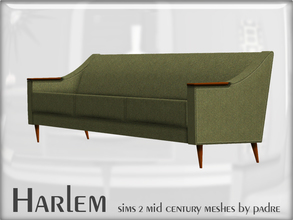 Sims 2 — Harlem 3 Seater Sofa by Padre — A 3 seater sofa to match the loveseat and armchair in the Harlem set. This item