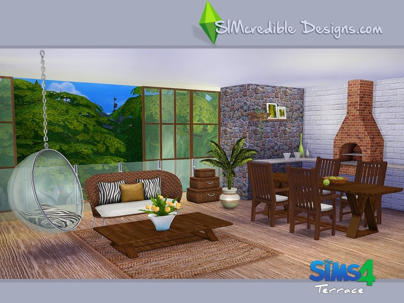 Simcredible 39 s terrace for Salle a manger sims 4