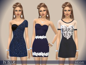 Sims 4 — InBlue by Paogae — Blue theme for three elegant short dresses with glitter and precious lace. Three different