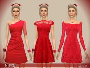 Sims 4 — InRed by Paogae — Red theme for three elegant short dresses in silk and precious lace. Three different models