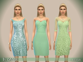 Sims 4 — InGreen by Paogae — Green theme for three elegant short dresses in glitter and precious lace. Three different