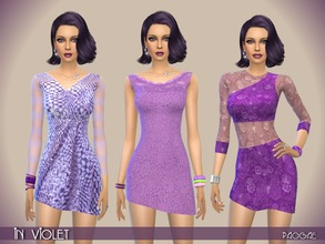 Sims 4 — InViolet by Paogae — Violet theme for three elegant short dresses in glitter and precious lace. Three different