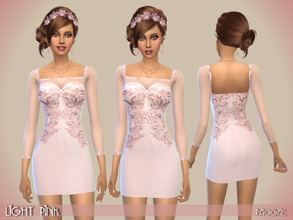 Sims 4 — LightPink by Paogae — Delicate short dress, light pink, with embroidery and long sleeves of transparent voile.