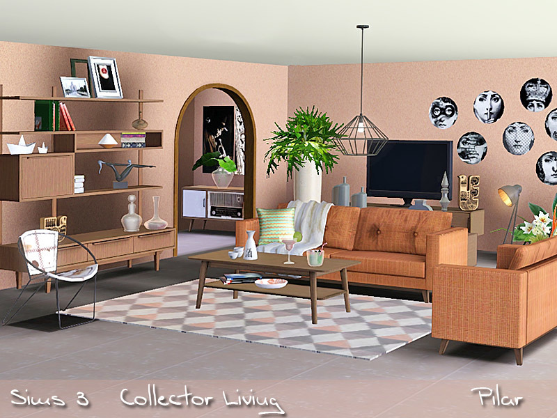 Pilar39s collector living for Sims 3 living room sets