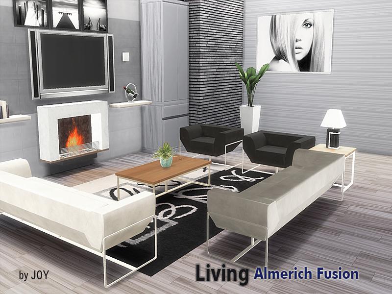 Joy 39 s living almerich fusion for Sims 3 salon moderne