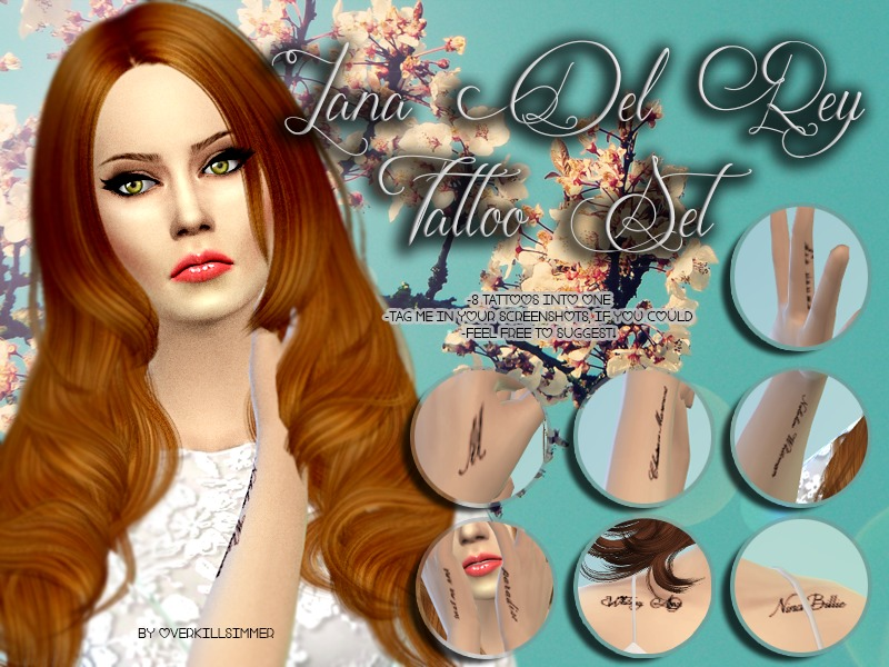 Overkill Simmers Lana Del Rey Tattoo Set