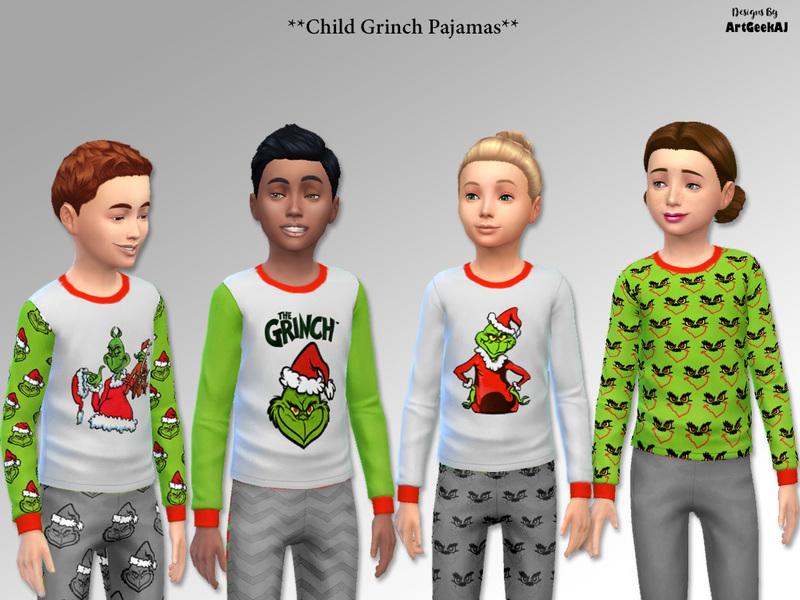 7dd89fd080e8 ArtGeekAJ s Child Holiday Pajama Tops Set 2 (Grinch)