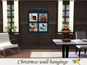 Sims 4 — evi Christmas wall hangings2 by evi — One of a set of colorful handmade wall hangings for Christmas