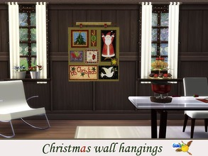 Sims 4 — evi Christmas wall hangings 4 by evi — One of a set of colorful handmade wall hangings for Christmas