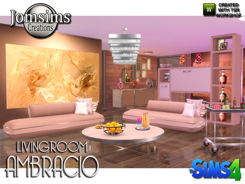 Jomsims 39 ambracio living room for Sims 4 meuble a telecharger