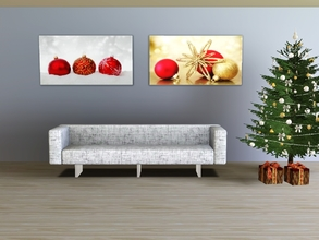 Sims 3 — Red ornaments by Andreja157 — 4 paintings in 1 file Made in TSRW from EA mesh (University Life) Additional
