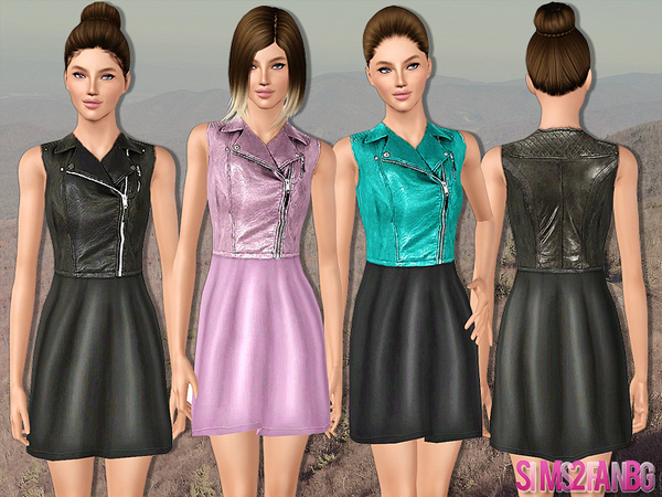 437 - Dress for teen with leather waistcoat by sims2fanbg