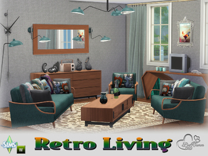 Sims 4 — Retro Livingroom by BuffSumm — Traveling back in time... Retro Living... Stylish, Colorful, Retro :) You get 20
